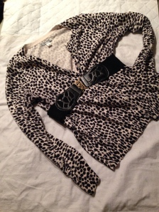 Old Navy Zebra print sweater turns from drab to fab with the addition of vintage belt