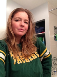 Sunday morning in my Packer's sweatshirt